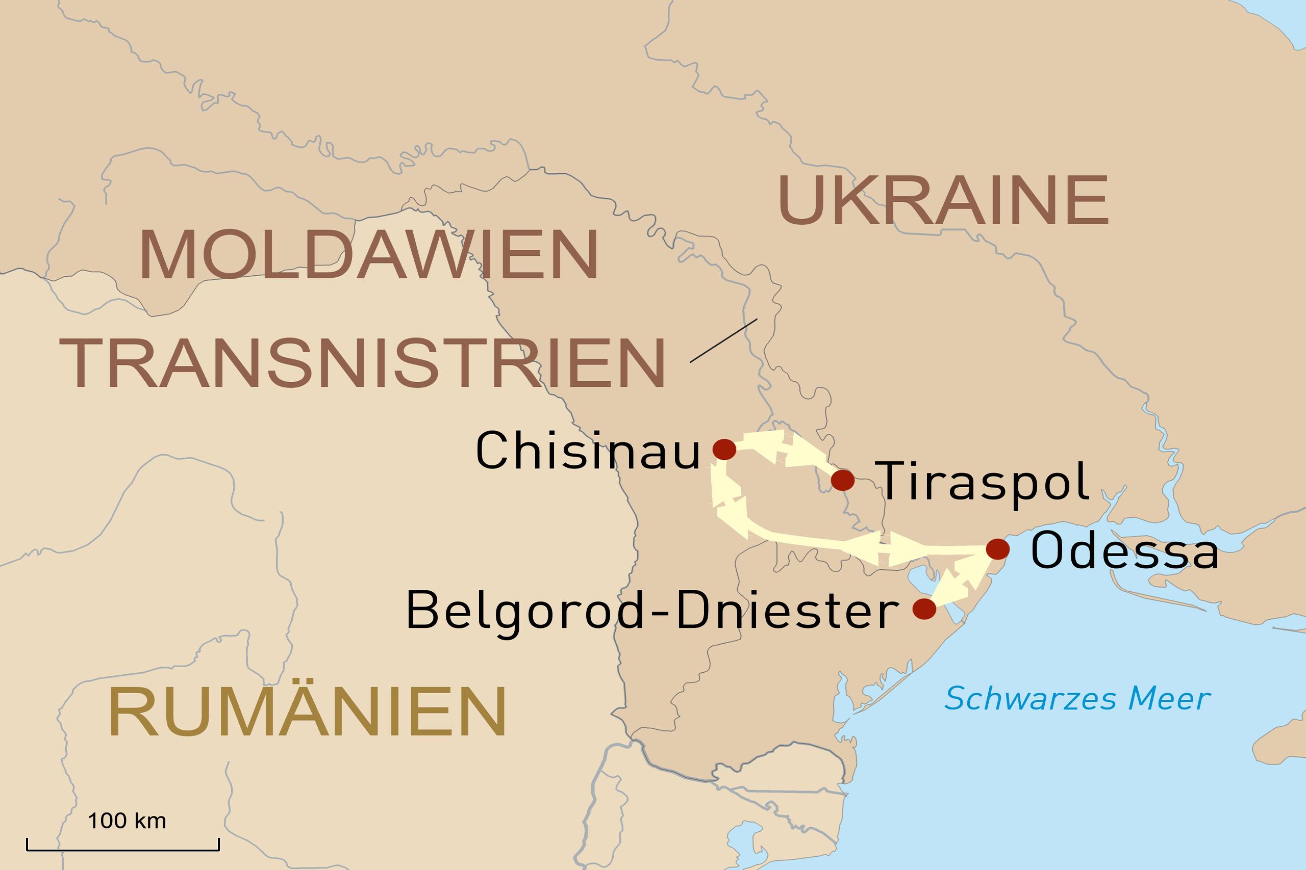 Landkarte für Unbekannte Perlen - Moldawien, Transnistrien und Odessa