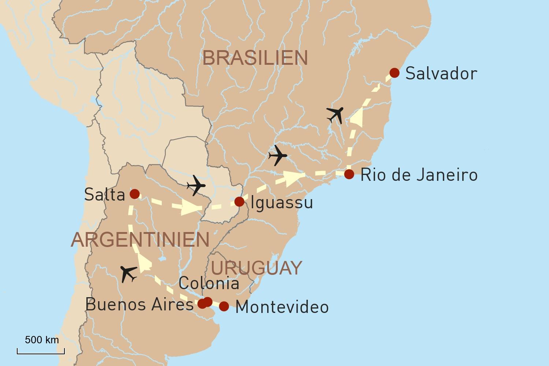 Uruguay, Argentinien & Brasilien - Metropolen und Naturwunder