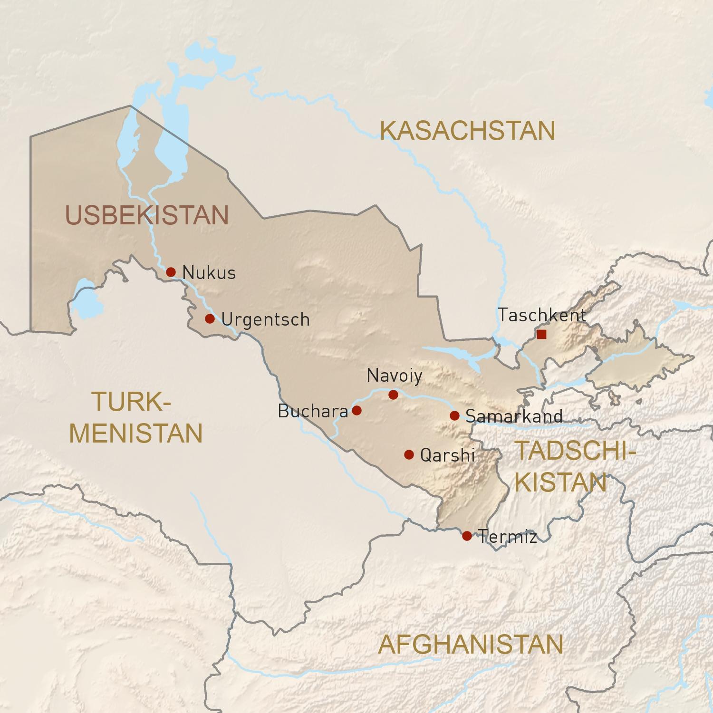 Usbekistan Karte.Usbekistan Reisen Individuell Geoplan Privatreisen