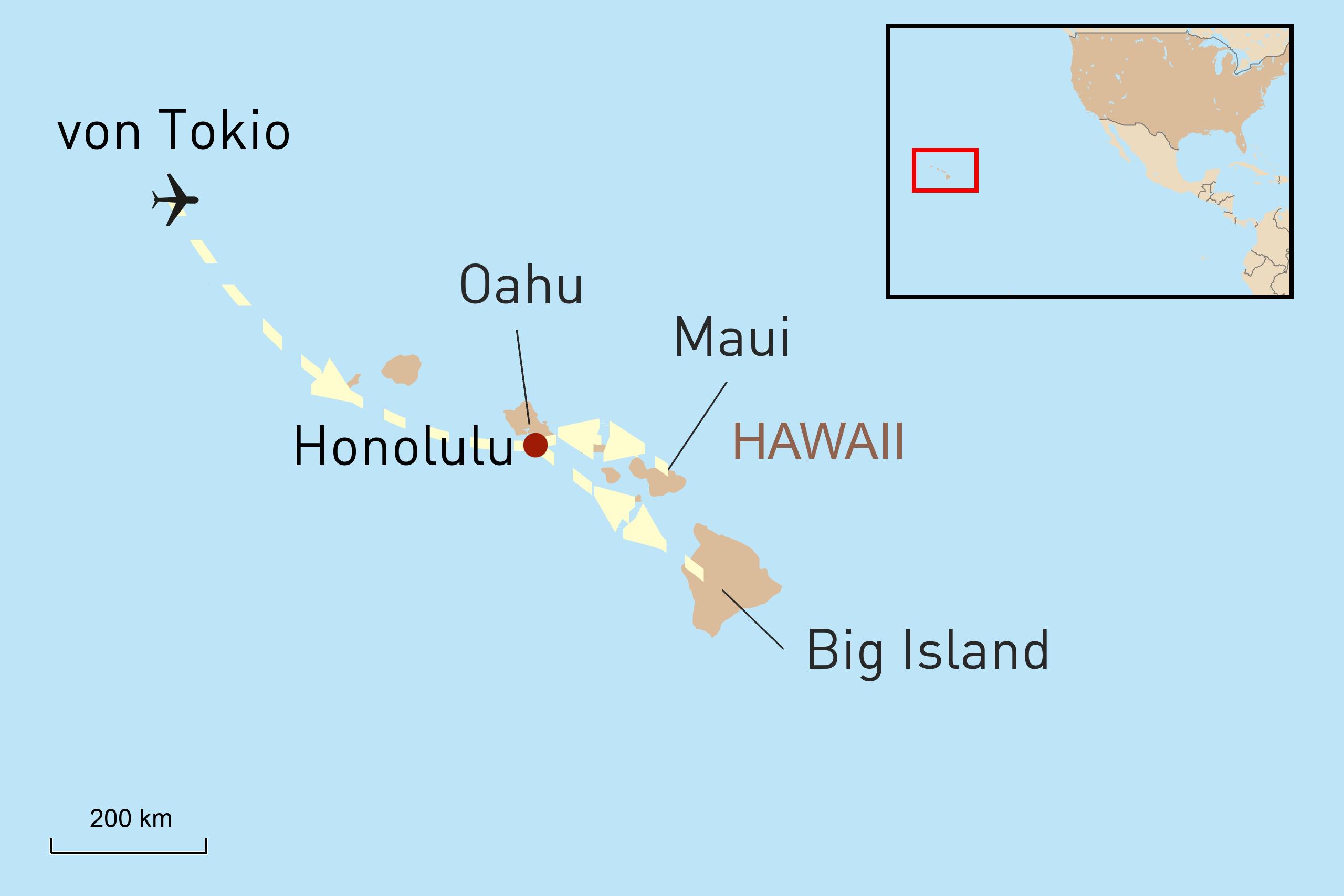 Von Tokio über Hawaii