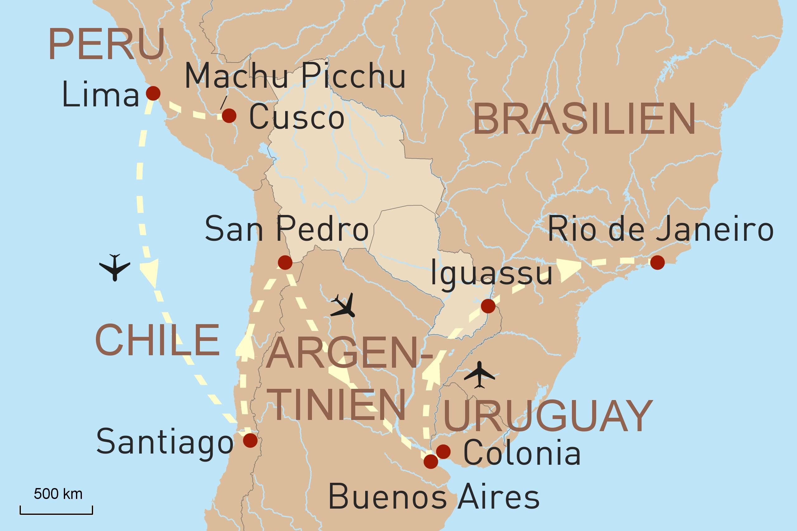 Großartiges Südamerika - Karte