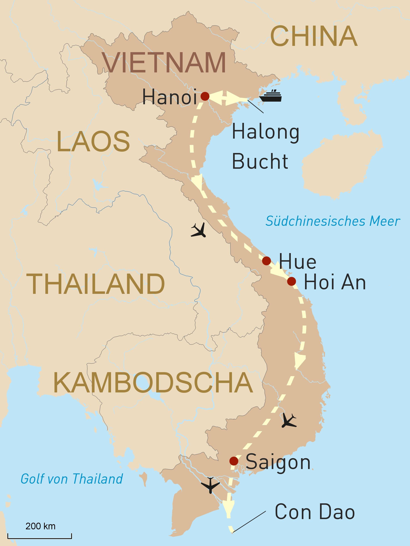 Vietnam luxuriös erleben - Karte